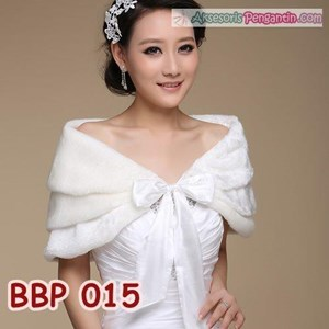 Bolero Bulu Lengan Panjang Merah Pengantin l Cardigan Wedding -BBP 015