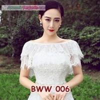 Jual Aksesoris Bolero Pesta Lace Putih Pengantin l Cardigan Wedding-BWW 006