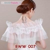 Beli Aksesoris Bolero Lace Putih Pengantin l Cardigan Pesta Wedding-BWW007 4