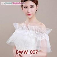 Aksesoris Bolero Lace Putih Pengantin l Cardigan Pesta Wedding-BWW007 Murah 5