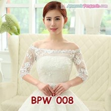 Bolero Pesta Putih Gaun Pengantin- Cardigan Lace Wedding Wanita-BPW008