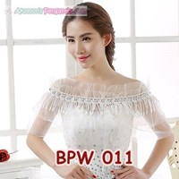 Aksesoris Bolero Pesta Pengantin l Cardigan Gaun Wedding Putih-BPW 011