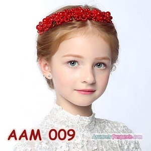 Aksesoris Rambut Sanggul Anak l Headpiece Pesta Mutiara Merah -AAM 009