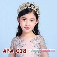 Jual Crown Mahkota Pesta Mutiara Emas l Aksesoris Tiara Rambut Anak -APA018