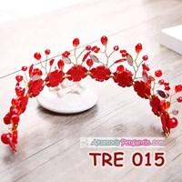 Distributor Aksesoris Rambut Bunga Pengantin Merah l Hiasan Tiara Pesta - TRE 015 3