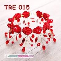 Jual Aksesoris Rambut Bunga Pengantin Merah l Hiasan Tiara Pesta - TRE 015 2