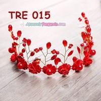 Aksesoris Rambut Bunga Pengantin Merah l Hiasan Tiara Pesta - TRE 015 Murah 5