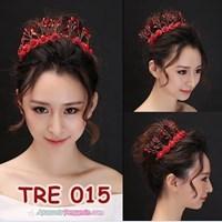 Aksesoris Rambut Bunga Pengantin Merah l Hiasan Tiara Pesta - TRE 015 1