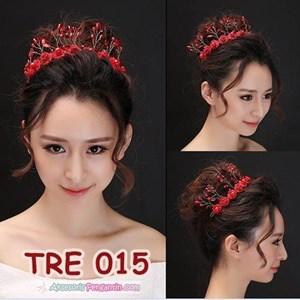 Aksesoris Rambut Bunga Pengantin Merah l Hiasan Tiara Pesta - TRE 015