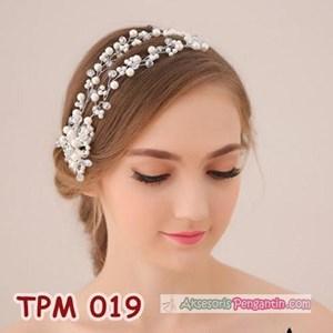 Aksesoris Sanggul Rambut Pengantin l Tiara Pesta Mutiara Modern-TPM019