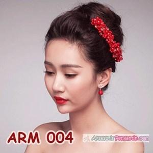 Aksesoris Rambut Sanggul l Headpiece Pesta Mutiara Merah Wanita-ARM004