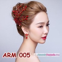 Beli Aksesoris Sanggul Pesta l Headpiece Mutiara Merah Pengantin - ARM 005 4