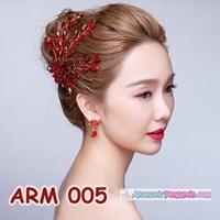 Aksesoris Sanggul Pesta l Headpiece Mutiara Merah Pengantin - ARM 005 Murah 5