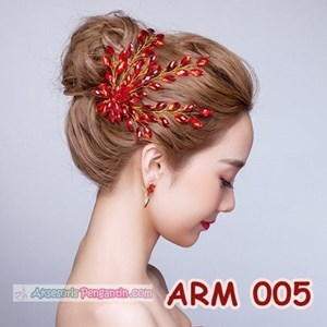 Aksesoris Sanggul Pesta l Headpiece Mutiara Merah Pengantin - ARM 005