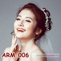 Distributor Aksesoris Sanggul Bunga Pesta l Headpiece Putih tiara Pengantin-ARM006 3