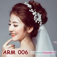Aksesoris Sanggul Bunga Pesta l Headpiece Putih tiara Pengantin-ARM006 Murah 5