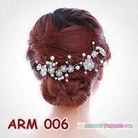 Beli Aksesoris Sanggul Bunga Pesta l Headpiece Putih tiara Pengantin-ARM006 4