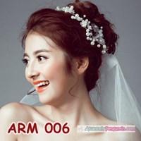 Jual Aksesoris Sanggul Bunga Pesta l Headpiece Putih tiara Pengantin-ARM006 2