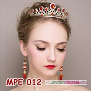 Mahkota Wanita Wedding Merah Wanita l Aksesoris Rambut Pengantin-MPE 012