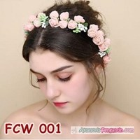 Jual Flower Crown Wedding Modern Pink- Mahkota Bunga Pesta Pengantin-FCW 001