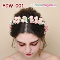 Flower Crown Wedding Modern Pink- Mahkota Bunga Pesta Pengantin-FCW 001 1