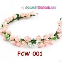 Distributor Flower Crown Wedding Modern Pink- Mahkota Bunga Pesta Pengantin-FCW 001 3