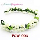 Aksesoris Flower Crown Pesta Putih- Mahkota Bunga Wedding Wanita-FCW03 3