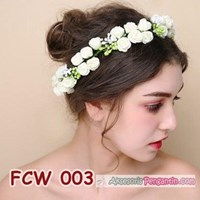 Aksesoris Flower Crown Pesta Putih- Mahkota Bunga Wedding Wanita-FCW03 Murah 5