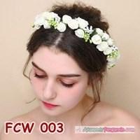 Jual Aksesoris Flower Crown Pesta Putih- Mahkota Bunga Wedding Wanita-FCW03 2