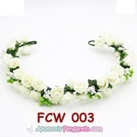Jual Aksesoris Flower Crown Pesta Putih- Mahkota Bunga Wedding Wanita-FCW03