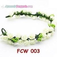 Distributor Aksesoris Flower Crown Pesta Putih- Mahkota Bunga Wedding Wanita-FCW03 3