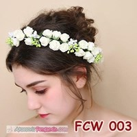 Beli Aksesoris Flower Crown Pesta Putih- Mahkota Bunga Wedding Wanita-FCW03 4