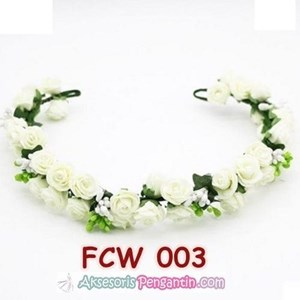 Aksesoris Flower Crown Pesta Putih- Mahkota Bunga Wedding Wanita-FCW03