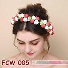 Flower Crown Wedding Merah Putih- Aksesoris Mahkota Bunga Pesta-FCW005 2