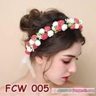 Flower Crown Wedding Merah Putih- Aksesoris Mahkota Bunga Pesta-FCW005 3