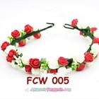 Flower Crown Wedding Merah Putih- Aksesoris Mahkota Bunga Pesta-FCW005 1