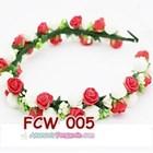Flower Crown Wedding Merah Putih- Aksesoris Mahkota Bunga Pesta-FCW005 5