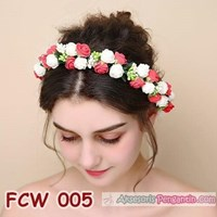 Jual Flower Crown Wedding Merah Putih- Aksesoris Mahkota Bunga Pesta-FCW005