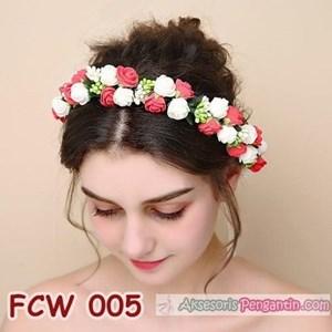 Flower Crown Wedding Merah Putih- Aksesoris Mahkota Bunga Pesta-FCW005