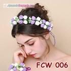 Flower Crown Wedding Ungu Putih l Mahkota Bunga Pesta Pengantin-FCW006 2