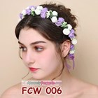 Flower Crown Wedding Ungu Putih l Mahkota Bunga Pesta Pengantin-FCW006 5