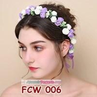 Flower Crown Wedding Ungu Putih l Mahkota Bunga Pesta Pengantin-FCW006 Murah 5
