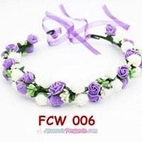 Beli Flower Crown Wedding Ungu Putih l Mahkota Bunga Pesta Pengantin-FCW006 4