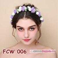 Distributor Flower Crown Wedding Ungu Putih l Mahkota Bunga Pesta Pengantin-FCW006 3