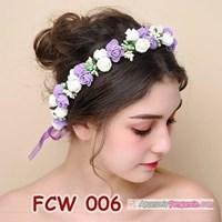 Flower Crown Wedding Ungu Putih l Mahkota Bunga Pesta Pengantin-FCW006 1