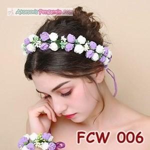 Flower Crown Wedding Ungu Putih l Mahkota Bunga Pesta Pengantin-FCW006