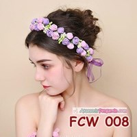 Jual Aksesoris Mahkota Pesta Bunga Pengantin - Flower Crown Wedding Modern -FCW 008