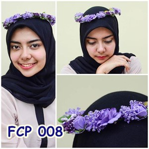Flower Crown Pesta Ungu Pengantin l Mahkota Bunga Wedding - FCP 008