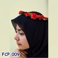 Flower Crown Pesta Merah Pengantin l Mahkota Bunga Wedding - FCP 009