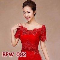 Distributor Bolero Pesta Pengantin Wanita l Cardigan Lace Wedding Merah - BPW 002 3